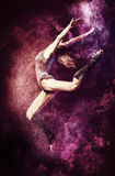 Stardust. Beautiful expressive bellet dancer dancing at studio. Powder Photo Shoot Royalty Free Stock Images