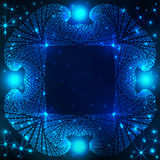Stardust decorative frame on blue gradient background with twinkling stars and lights Stock Photos