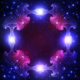 Stardust decorative frame on dark blue and violet gradients background with twinkling stars and lights Stock Photo