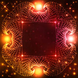 Stardust decorative frame on dark orange and red gradient background with glittering stars and lights Stock Photos