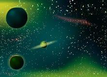 Stardust en heldere glanzende sterren in ruimte Royalty-vrije Stock Foto's