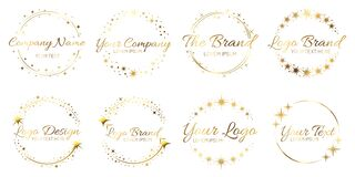 Free Stardust Golden Logo Set. Shiny Circle Frames With Stars And Glowing Glitter. Round Border For Company Name Royalty Free Stock Image - 196588786