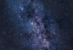 Stardust of Milky Way. Astronomical photograph of bright Milky Way area with constellations Perseus and Cassiopeia Stock Image