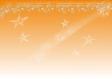 Stardust Orange. Illustration, Orange background and white stars Stock Image