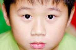 Stare. A expressionless Chinese boy staring Royalty Free Stock Image