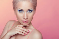 Stare. Beauty model portrait. Makeup. Attractive young woman iso Royalty Free Stock Images