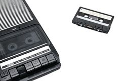 Stare desktop typ kaseta pisak na białym odosobnionym tle zdjęcia royalty free