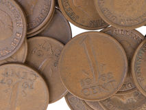 Stare holenderskie cent monety, selekcyjna ostrość Obrazy Stock