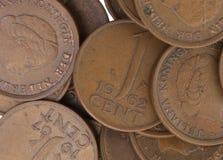 Stare holenderskie cent monety, selekcyjna ostrość Obraz Stock