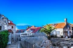 Stare kamienne ulicy w Dalmatia, Chorwacja Zdjęcie Royalty Free