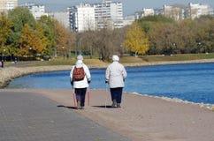 Stare kobiety chodzi w parkowym Kola z Północnymi chodzącymi kijami Zdjęcia Stock
