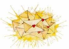 Stare koperty pieczętować z woskiem stemplowali - malują w akwareli Vectorized akwareli ilustracja 9 inkasowych eleganckich listó royalty ilustracja