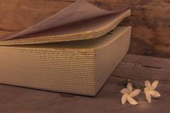 Stare książki na drewnianej podłoga z białymi kwiatami umieszczającymi zdjęcie stock