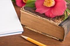 Stare książki z romantycznymi różowymi kwiatami na drewnianym Obraz Royalty Free