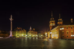 Stare Maisto. Castle Square view at night in the old town, Warsaw, Poland Stock Photos