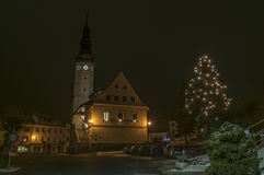 Stare Mesto pod Sneznikem town in winter night. Stare Mesto pod Sneznikem town in winter Christmas night stock photo