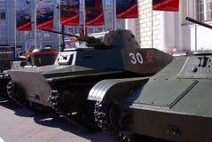 Stare militarne maszyny pokazywać w Moskwa centrum miasta Zdjęcia Stock