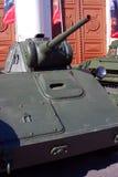 Stare militarne maszyny pokazywać w Moskwa centrum miasta Obraz Stock