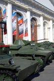 Stare militarne maszyny pokazywać w Moskwa centrum miasta, Manege Obraz Royalty Free