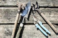 stare narzędzia ogrodnicze Fotografia Stock