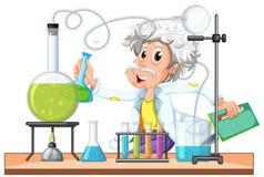 Stare naukowiec pracy w lab ilustracja wektor