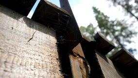 Stare pajęczyny w zaniechanym domu Pająk sieć pod dachem Pajęczyny pod dachem obraz stock