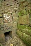 Stare piaskowa bloku ściany elektrownia, Machester, Connecticut Zdjęcie Royalty Free