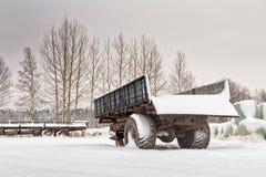 Stare przyczepy Po opadu śniegu Fotografia Stock