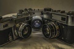 Stare Rosyjskie analogowe ekranowe kamery z ręcznymi kontrola Obraz Royalty Free