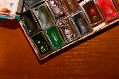 Stare rzadkie akwareli farby Radzieckie akwarele obrazy stock