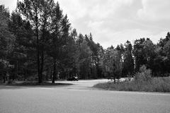 Stare Splavy, Czech republic - May 19, 2018: parked car Opel Astra H on parkling lot for tourist between pines in Machuv kraj tour. Ist area during spring cloudy royalty free stock photography