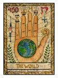 Stare tarot karty Pełny pokład Świat royalty ilustracja