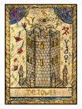 Stare tarot karty Pełny pokład Wierza royalty ilustracja