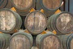 Stare wino baryłki w Codorniu wytwórnii win w Hiszpania Zdjęcie Stock
