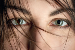 Stared female eyes. Under blowing hair close up Stock Photos