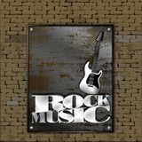 Starego ściana z cegieł metalu szkotowego żelaza ośniedziała muzyka rockowa ilustracji