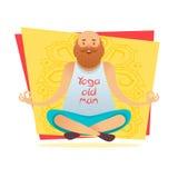 Starego człowieka ćwiczy joga Fotografia Royalty Free