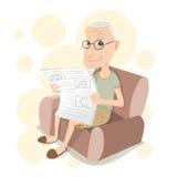 Starego człowieka obsiadanie na kanapie i czytaniu gazeta Obraz Stock