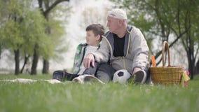 Starego cz?owieka obsiadanie z jego wnukiem na koc w parku Chłopiec wskazuje daleko od, pokazywać niektóre szczegóły mężczyzna ro zbiory