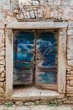 Starego drzwiowego dowcipu oryginalny nowy błękitny obraz, Chorwacja, bela Obrazy Stock