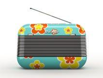 Starego flovers deseniowego rocznika retro stylowy radiowy odbiorca odizolowywający Zdjęcie Royalty Free