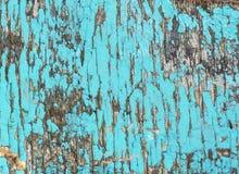 Starego grunge tekstury nieociosany drewniany tło z błękitnym kolorem pękającym wietrzał farbę fotografia royalty free