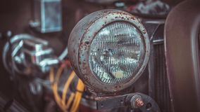 Starego Headlamp Samochodowy Frontowy widok zdjęcia stock