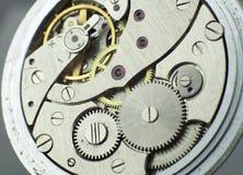 Starego kieszeniowego zegarka wewnętrznego mechanizmu makro- krótkopęd Obraz Stock