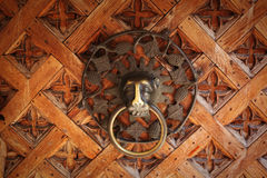 Starego metalu drzwiowy knocker, lew głowa Obrazy Stock