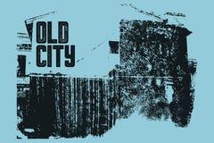 Starego miasto typograficznego rocznika plakatowy projekt Starego domowego grunge tekstury porysowany tło retro ilustracyjny wekt Zdjęcie Royalty Free