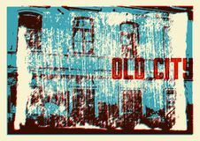 Starego miasto typograficznego rocznika plakatowy projekt Starego domowego grunge tekstury porysowany tło retro ilustracyjny wekt Obrazy Royalty Free