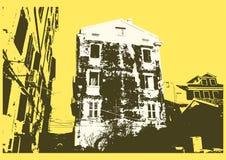 Starego miasto typograficznego rocznika plakatowy projekt Starego domowego grunge tekstury porysowany tło retro ilustracyjny wekt Zdjęcie Stock