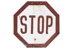 Starego ośniedziałego standardu drogowy znak «przerwa «odizolowywająca na bielu zdjęcia stock