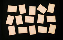 Starego rocznika papieru czerni ustalony udział karciana krawędź gofrujący fotografii ramy tła pisma przypomnienia deski zawiadom fotografia royalty free